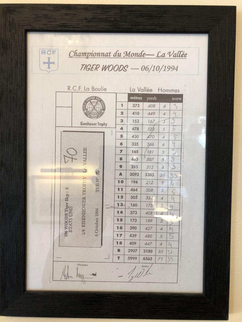 La carte de score de Tiger Woods en 1994 à La Boulie