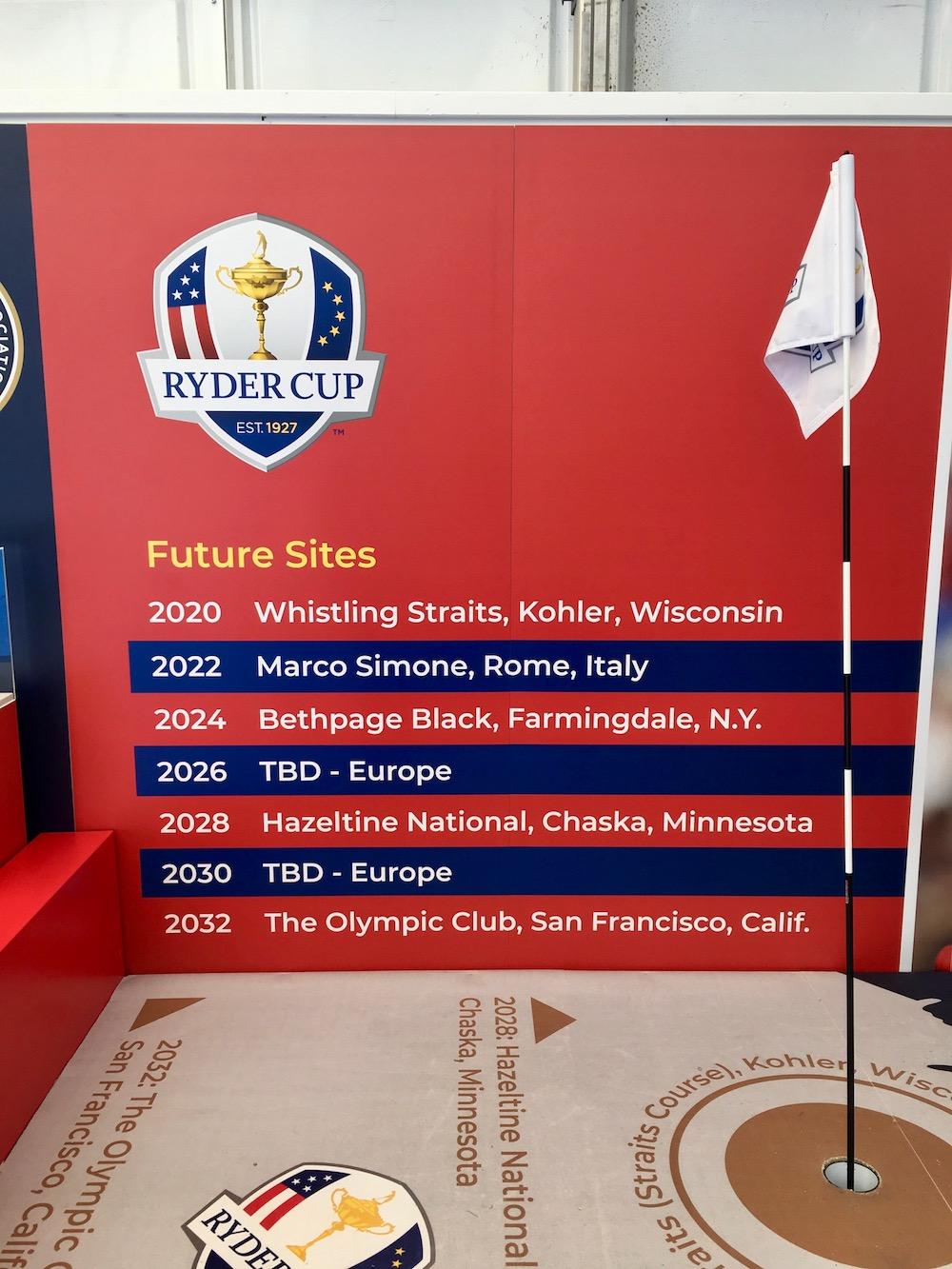 Golfs et pays des prochaines Ryder Cup de 2020 à 2032